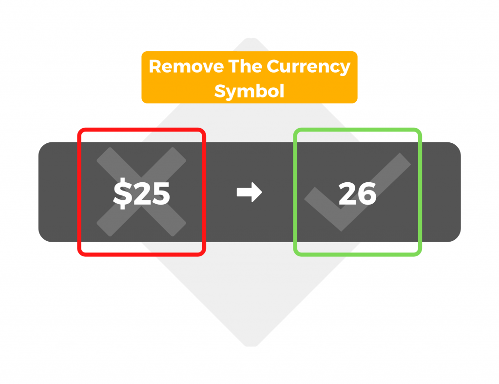 Remove the currency symbol